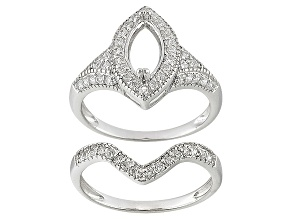 Rhodium Plated Over Sterling Silver 9x4.5mm Marquise W/1.25ctw Cubic Zirconia Semimount Ring