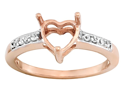 10kt Rose Gold 6mm Heart Shape Semi Mount With Round White Zircon Accents