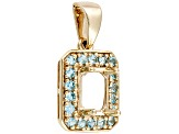 7x5mm Octagonal 10kt Yellow Gold Semi Mount Pendant With Blue Topaz