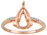 10k Rose Gold 11x7mm Pear Shape W/Appr .04ctw White Zircon Accents Semi Mount Ring