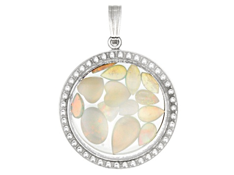 Australian Opal 2.50ctw Average Rhodium Over Sterling Silver Pendant