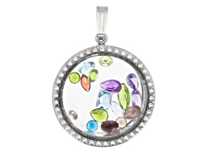 Spice Mix Faceted 2.50ctw Average  Rhodium Over Sterling Silver Pendant