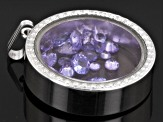 Tanzanite 2.50ctw Average Rhodium Over Sterling Silver Pendant