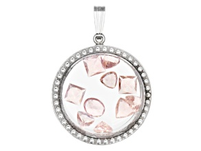 Cor-De-Rosa Morganite ™  2.50ctw Average Rhodium Over Sterling Silver Pendant