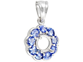 Gemsavvy Nostalgia™ 8mm Round With Tanzanite 1.44ctw Round, Sterling Silver Pendant Semi Mount