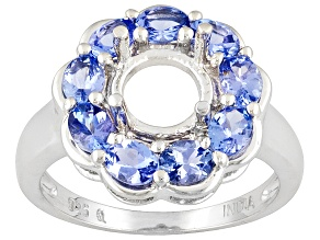 Gemsavvy Journeys™8mm Rd W/ Tanzanite 1.44ctw Round, Rhodium Over Sterling Silver Ring Semi Mount