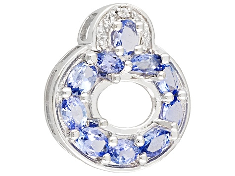 Gemsavvy Trenditions™ 9x7mm Ov With Tanzanite & White Zircon 1.36ctw Sterling Pendant Semi Mount