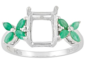 Sterling Silver 10x8mm Rectangle With Emerald And White Zircon Semi Mount Ring