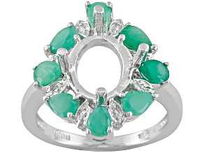 Gemsavvy Trenditions™ 10x8mm Oval With 1.44ctw Pear Emerald Sterling Semi Mount Ring
