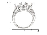 9mm Round And 6mm Trillion With .41ctw Round White Topaz Semi Mount Ring
