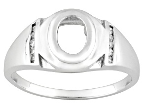 10kt White Gold 8x6mm Oval And White Diamond Semi Mount Ring