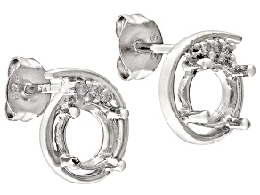 Gemsavvy Nostalgia™6mm Round And .02ctw Round White Diamond Sterling Silver Semi Mount Earrings