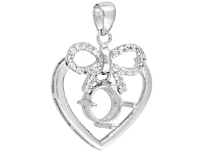 Gemsavvy Sentiments™8mm Rd W/.42ctw Rd Wht Topaz Bow&Heart Rhodium Over Sterling Semi Mnt Pendant