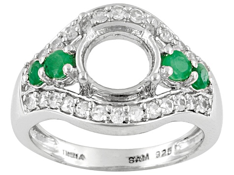 Gemsavvy Nostalgia™Rhodium Over Sterling 8mm Rd W/.19 Ctw Emerald&White Zircon Semi Mnt Rg