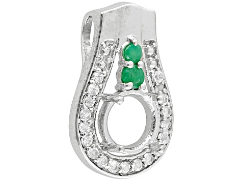 Gemsavvy Nostalgia™Rhodium Over Sterling 8mm Rd W/.19ctw Emerald&White Topaz Pendant Semi Mount