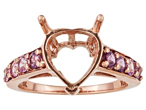 10kt Rose Gold 10mm Heart Shape And Pink Sapphire Semimount Ring