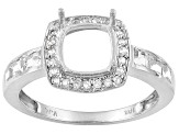 10kt Wg 7mm Cushion  W/.56ctw Rd And Square White Topaz Accents Halo Style Semi Mount Ring
