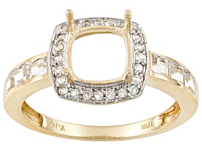 10kt Yg 7mm Cushion W/.56ctw Round And Square White Topaz Accents Halo Style Semi Mount Ring
