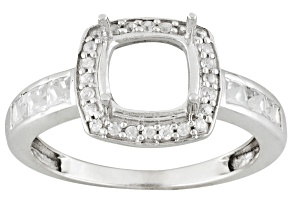 10kt Wg 7mm Cushion  W/1.06ctw Rd And Square White Zircon Accents Semi Mount Ring