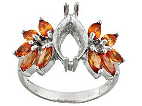 Gemsavvy Journeys™Rhodium Over Sterling 12x6mm Mq W/2ctw Orange Sapphire Semi Ring