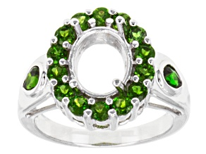 Gemsavvy Journeys™10x8mm Oval With 1.47ctw Round & Pear Shape Chrome Diopside Sterling Semi-Mount