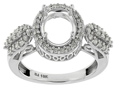 Diamond 10k White Gold Semi-Mount Ring .55ctw