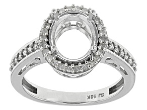 Diamond 10k White Gold 10x8mm Oval Semi-Mount Ring .33ctw