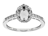 Gemtite Halo Style 8x6mm Snap in Head Silver Semi Mount Ring .30ctw