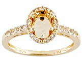 Gemtite Halo Style 8x6mm Snap in Head 18k Gold Over Silver Semi Mount Ring .30ctw