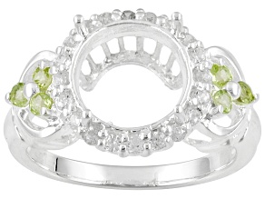 Sterling Silver 10mm Round With .18ctw Peridot And .30ctw Zircon Semi-Mount Ring