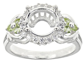 Gemsavvy Trenditions™ 9mm Round .18ctw Peridot And .30ctw Zircon Sterling Silver Semi-Mount Ring
