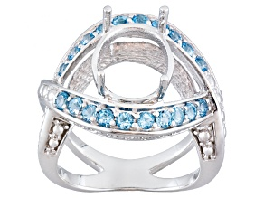 Gemsavvy Nostalgia™12x10mm Oval With 1.06ctw Round Blue Topaz Sterling Semi Mount Ring