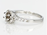 White Topaz Sterling Silver Semi Mount Ring .10ctw