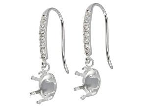 White Topaz Sterling Silver Semi Mount Earrings .14ctw