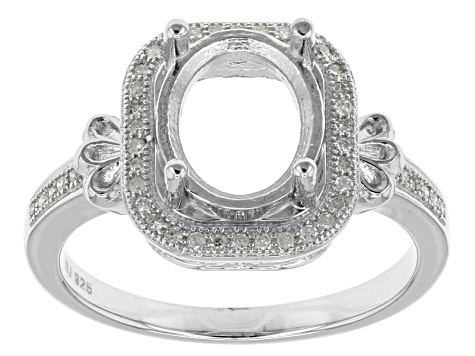 Diamond Silver Semi-Mount Ring .12ctw