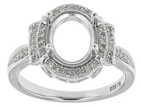 Diamond Silver Semi-Mount Ring .15ctw