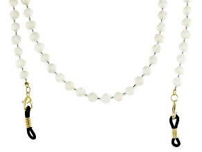 White Cultured Freshwater Pearl and Glass Seed Bead Eyeglass and Mask Chain in Gold Tone Appx 28""