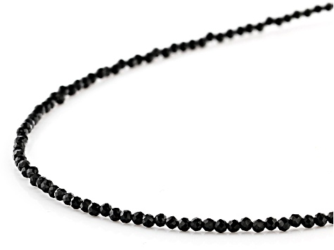 Black Spinel Appx 2mm Faceted Round Eyeglass Chain Appx 28