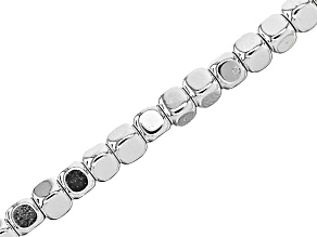 "Silver Tone Coated Hematine Appx 4mm Cube Eyeglass and Mask Chain in Silver Tone Appx 28"" in Length"