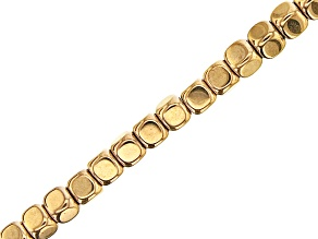"""Gold Tone Coated Hematine Appx 4mm Cube Eyeglass and Mask Chain in Gold Tone Appx 28"""" in Length"""
