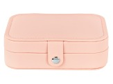 Travel Jewelry Box in Blush Pink Faux Leather