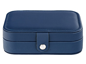 Picture of Travel Jewelry Box in Navy Blue Faux Leather
