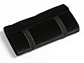 Travel Jewelry Roll in Black Velveteen with Beige Faux Suede Lining