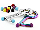 Touchless Tool Keychain set of 2 in Silver Tone & Rainbow Effect Color