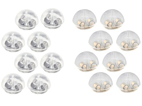 16 Piece Set of Bubble Earring Backs in Rhodium Over Silver & 14k Gold Over Silver (8 Pieces Each)