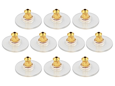 20 Piece Set of Bullet Clutch Earring Backs With Pad in Rhodium Over SS & 14k Gold Over SS