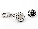 Magnetic Clasp Black Spinel Rhodium Over Sterling Silver