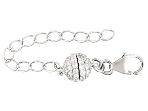 Bella Luce Diamond Simulant Magnetic Clasp Converter Rhodium Over Sterling 2 inch Ext Chain