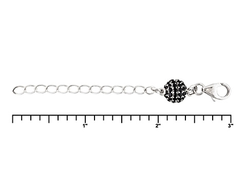 Magnetic Clasp Black Spinel Rhodium Over Sterling Silver 2 inch Ext Chain