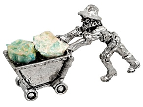 Amazonite And Pewter Miner Cart Figure